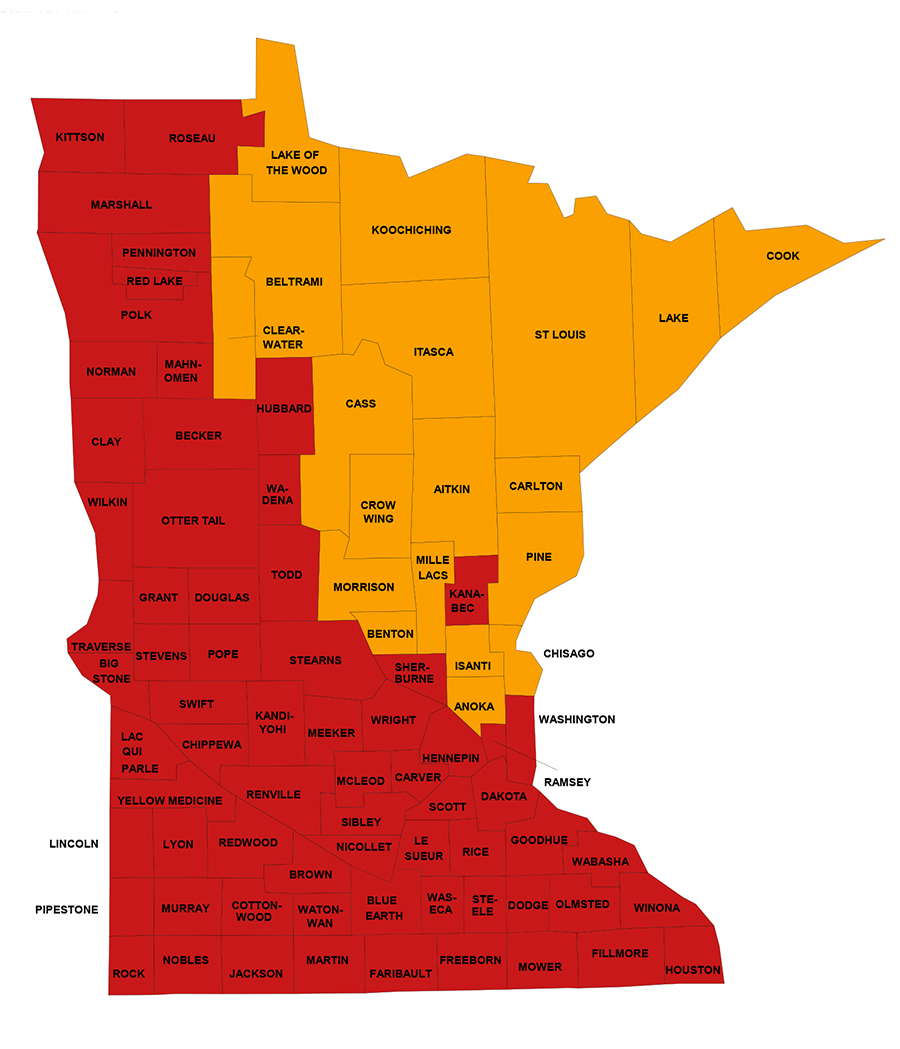 Minnesota - EPA Map of Radon Zones